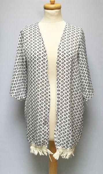 Marynarki i żakiety Narzutka Wzory XL 42 Kimono Frędzle Białe Wzorki
