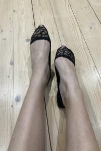 Koronkowe czarne stopki