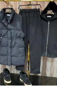3 w 1 komplet dres z kamiezelką czarny
