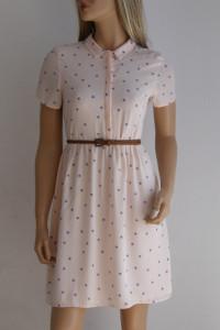 Sukienka guziki Vintage szmizjerka 36 S pudrowa...