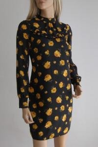 Sukienka boho 36 kwiaty słoneczniki czarna Vintage...