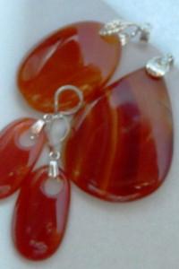 Karneol czerwony kamień odwagi duży zestaw biżuterii