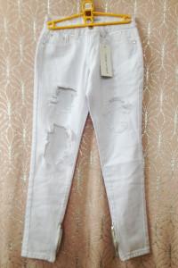 Jeansy białe z dziurami zamkami S 36 Liquo r n poker 6 34 xs z ...