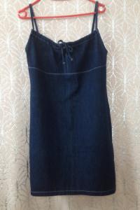 Jeansowa sukienka na szelkach ramiączkach prosta 40 L ciemny de...