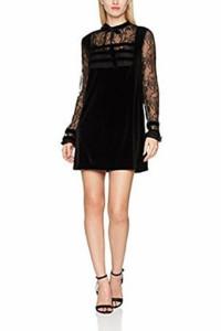 Fornarina czarna sukienka koronka roz M