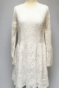 Sukienka Biała Koronkowa Koronka Cubus L 40 Rozkloszowana