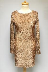 Sukienka Złota Cekiny M 38 Odkryte Plecy Oneness...