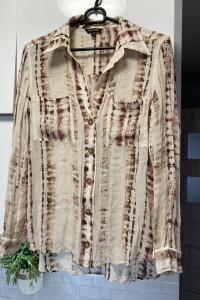 Massimo Dutti koszula wzory guziki print zwiewna