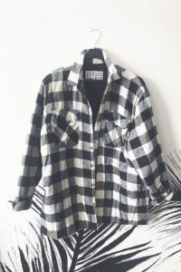 Kurtka koszulowa pikowana w kratkę XL modna czarno biała vintag...