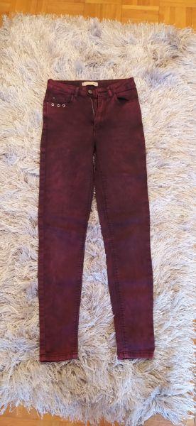 Spodnie Jeansy bordowe Cropp rozmiar S