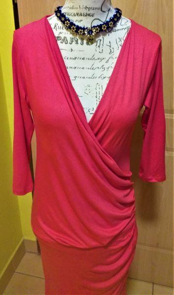 Suknie i sukienki Sukienka lejąca marki OXYD rękaw 3 4 czerwono malinowa 38 M