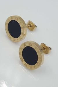 Kolczyki złote stal chirurgiczna 316L zegar rzymski...