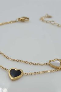 Bransoletka celebrytka złota stal chirurgiczna 316L serca...