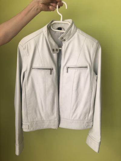 Odzież wierzchnia Biała skórzana kurtka ramoneska biker S