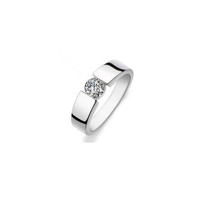 Pierścionki Nowy pierścionek obrączka srebrny kolor biała cyrkonia prosty