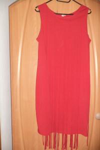 Czerwona sukienka frędzle