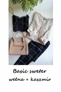 Sweterek wełna kaszmir basic minimalizm M L beżowy nude wełnian...