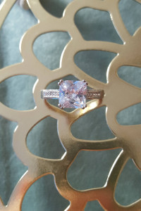 Nowy pierścionek srebrny kolor kwadratowa cyrkonia elegancki kr...