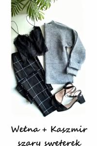 Sweterek wełna kaszmir XS S szary wełniany basic minimalizm...