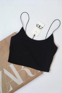 Crop top czarny Zara S 36 prążki