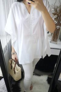 John Baner Koszula damska z szerokimi rękawami ażurowa biała S