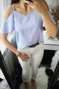 Koszula damska w paseczki opadające ramiona L...