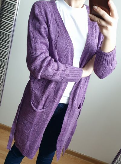 Swetry Nowy kardigan lilia wiązany narzutka rozmiar XS S