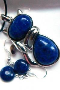 Lapis lazuli wisiorek z kotkiem kolczyki zestaw biżuterii...