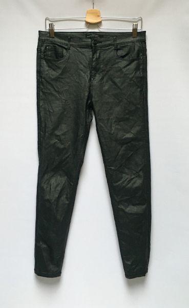 Spodnie Spodnie Woskowane Czarne Stradivarius High Waist XL 42 Rurk
