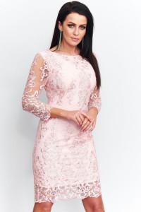 jokastyl Różowa sukienka koronka haft cekinki 34 36 38 40 42 44...