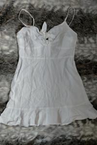 Asos Biała sukienka letnia 38 len i wiskoza