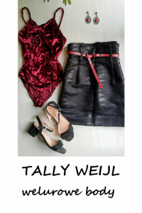 Welurowe burgundowe body Tally Weijl XS S bordowe welur...