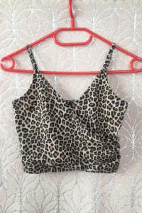 Crop top panterka xs s m 34 36 38 elastyczny nowy divided H&M...