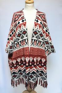 Swter Wzory Aztec Narzutka Kardigan H&M S 36 Frędzle Azteckie...