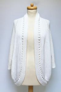 Sweter Biały Ażurowe Plecy New Look 44 XXL Narzutka Biel...