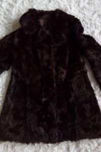 Futro płaszcz czekoladowy z kozic górskich 42 44