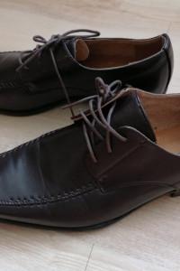 Eleganckie buty męskie mokasyny półbuty ciemny brąz roz 44
