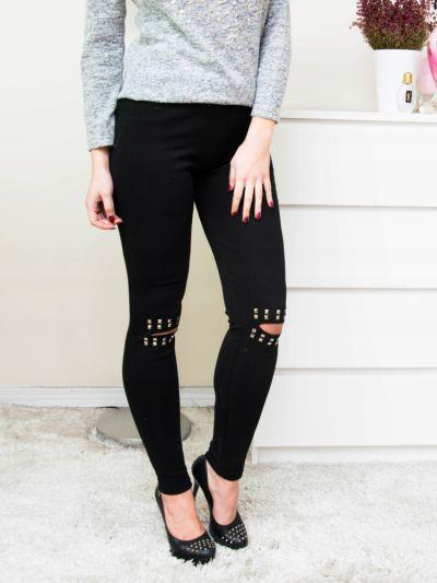 Legginsy Spodnie rurki czarne legginsy dziury dzety L
