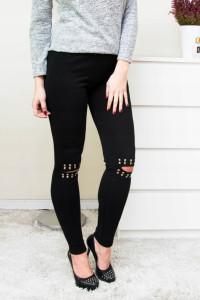 Spodnie rurki czarne legginsy dziury dzety L