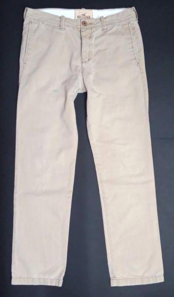 Spodnie HOLLISTER Materiałowe męskie spodnie beżowe 32x32