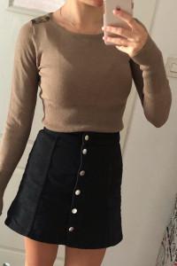 Brązowy obcisły sweter wkładany z długim rękawem Reserved S ozd...