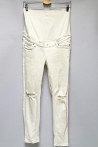 Spodnie Dziury Na Kolanach H&M Mama S 36 Białe Skinny Ankle...