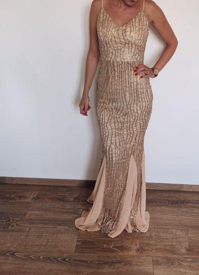 Suknie i sukienki Złota elegancka suknia 36