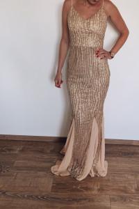Złota elegancka suknia 36