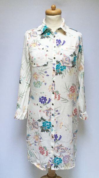 Suknie i sukienki Sukienka Koszulowa Kwiaty Indigo M 38 Kremowa Kwiatki