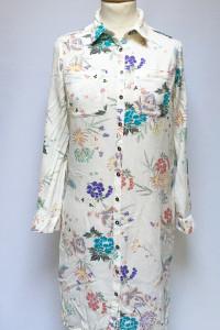Sukienka Koszulowa Kwiaty Indigo M 38 Kremowa Kwiatki...