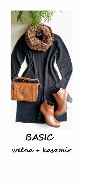 Suknie i sukienki Czarna dzianinowa sukienka basic minimalizm wełna kaszmir M L