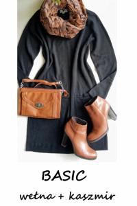 Czarna dzianinowa sukienka basic minimalizm wełna kaszmir M L