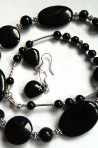 Czarny onyks i srebro klasyka i elegancja zestaw biżuterii...