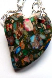 Kolorowe serce jaspis cętkowany srebro wisiorek na łańcuszku...